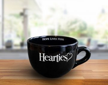 20oz. Large Coffee Cup - Hearties - BLACK