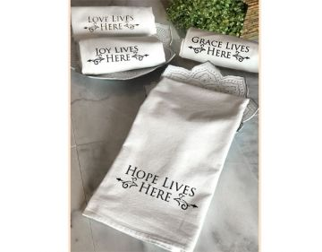 Tea Towels - Hope Lives Here Collection - Black